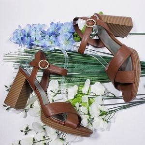 A New Day Womens Ankle Strap Sandals Brown High Bl